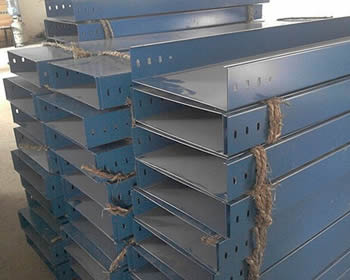 Piles of galvanized large span cable trays packed with straw ropes