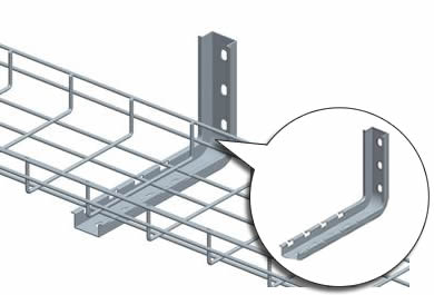 A L-type holder is fixed on the wall to support the basket cable trays