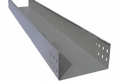 A gray steel large span channel type cable tray for laying heavy cables