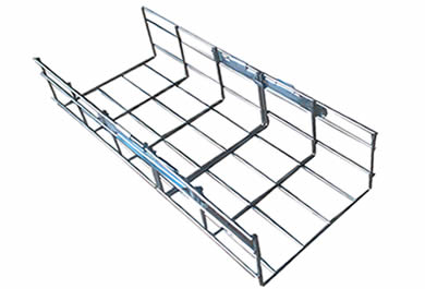 A piece of stainless steel basket cable tray with two clips connected on both rails