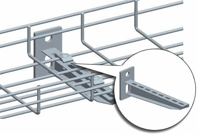 A sketch map of a holder that stabilizes wire mesh cable tray. The holder can be fixed on the wall