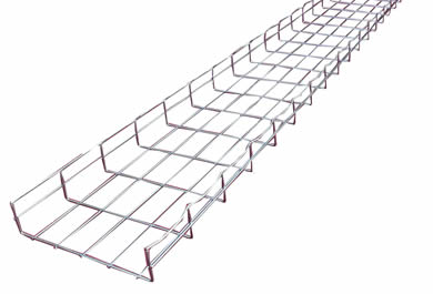 A stainless steel wire mesh cable tray with 50mm× 100mm mesh size